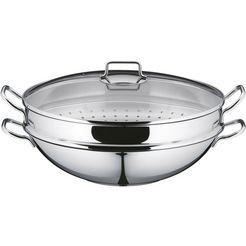 wmf wok »macao« (4-delige set, wok met glazen deksel, stoominzet, receptenboekje) zilver