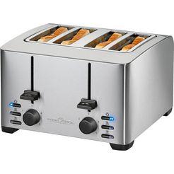 profi cook toaster »pc-ta 1073«, voor 4 plakken brood, 1500 w zilver