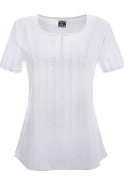 hammerschmid dames-folkloreshirt met knoopsluiting bij de hals wit