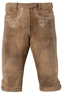 almsach dames-lederhose in 3-4-lengte met borduursel bruin
