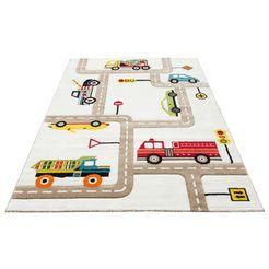vloerkleed voor de kinderkamer, »straten«, luettenhuett, motiefmodel, hoogte 13 mm, machinaal geweven beige