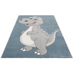 vloerkleed voor de kinderkamer, »dino«, luettenhuett, rechthoekig, hoogte 13 mm, machinaal geweven grijs