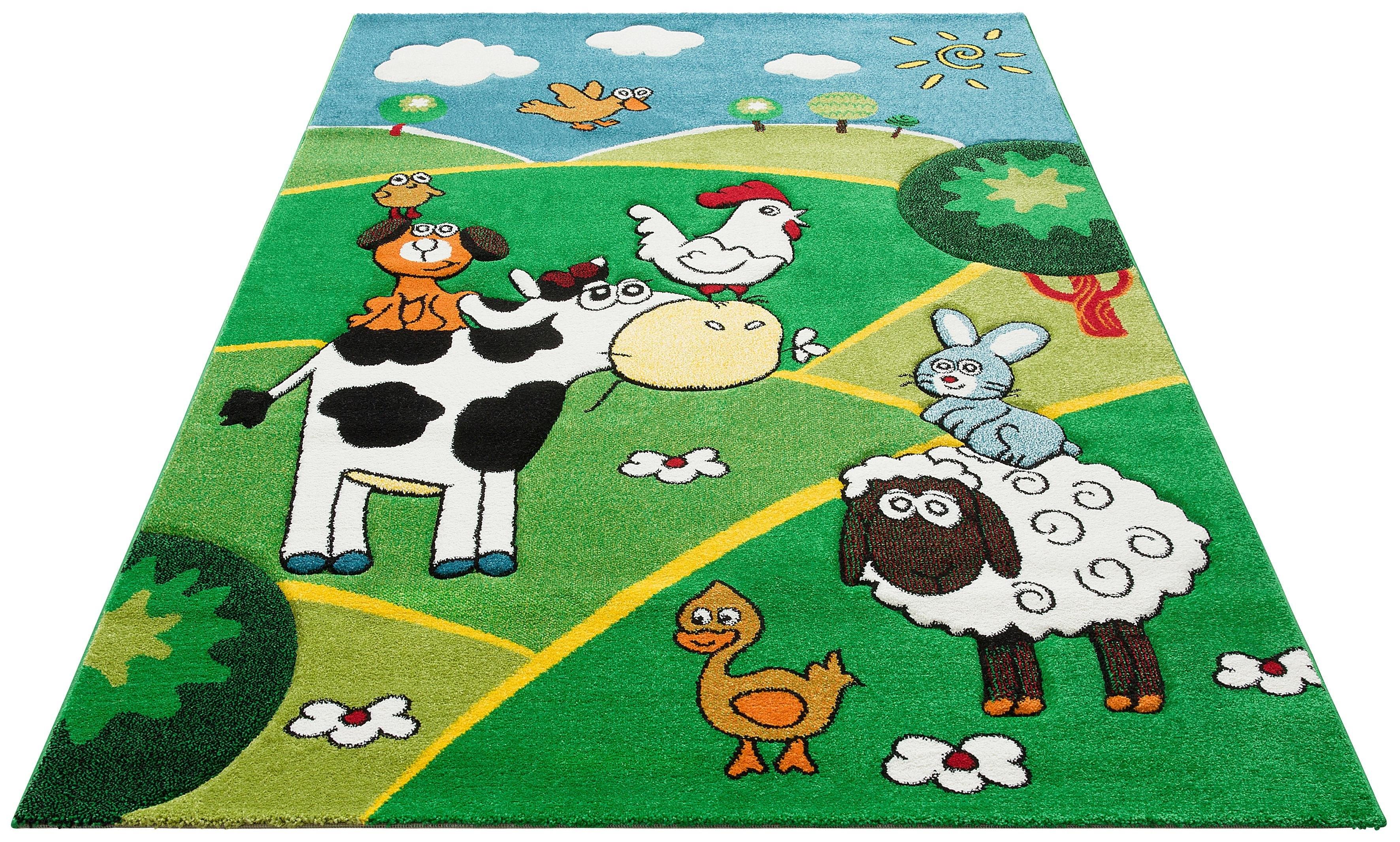 Lüttenhütt vloerkleed voor de kinderkamer Boerderij Motief dieren, met de hand gesneden reliëfpatroon, kinderkamer nu online kopen bij OTTO