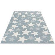 vloerkleed voor de kinderkamer, »stars«, luettenhuett, rechthoekig, hoogte 13 mm, machinaal geweven blauw