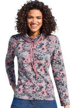 classic basics sweatshirt met speels bloemdessin roze