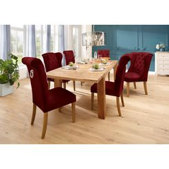 home affaire eetkamerstoel liao set van 2, in twee verschillende kleuren, met chique capitonnage in de rugleuning (set) rood