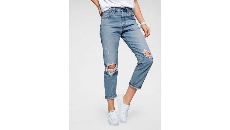 Levi's® destroyed jeans 501 Verkort model met destroyed-effecten