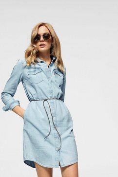 levi's jeansjurk »ultimate western dress« (set, 1-dlg., met strikbandjes) blauw