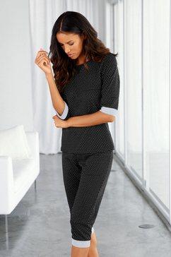 vivance dreams capripyjama met stippen- en streepdessin zwart