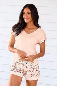 s.oliver red label beachwear shortama shortama met bloemmotief roze