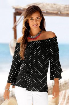 lascana blouse met carmenhals zwart
