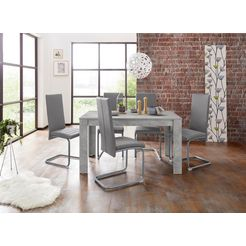 homexperts eethoek nitro tafel - breedte 140 cm + 6 stoelen (set, 7-delig) grijs