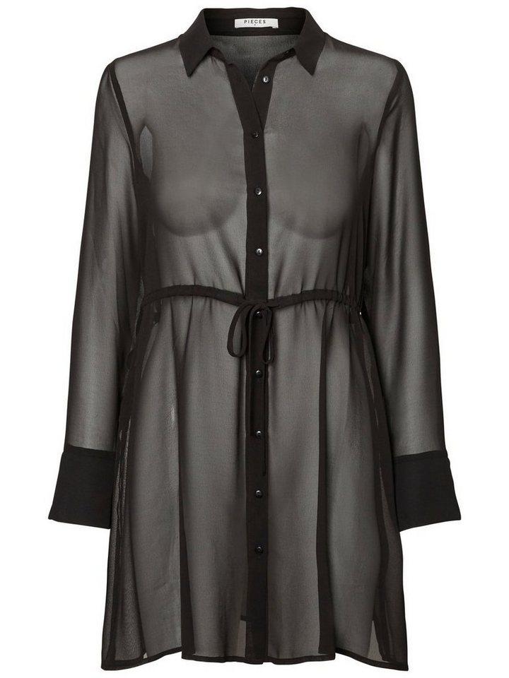 Pieces Lange chiffon Overhemd zwart