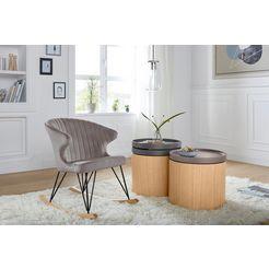 andas schommelstoel »tarim« met metalen onderstel en sfeervolle velvetbekleding, zithoogte 48 cm grijs
