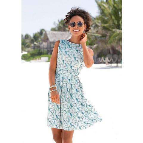 Lascana scuba-jurk met veren-print wit