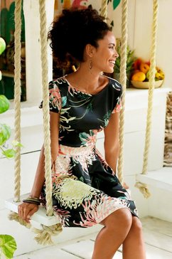 lascana scuba-jurk met plooien in de rok zwart