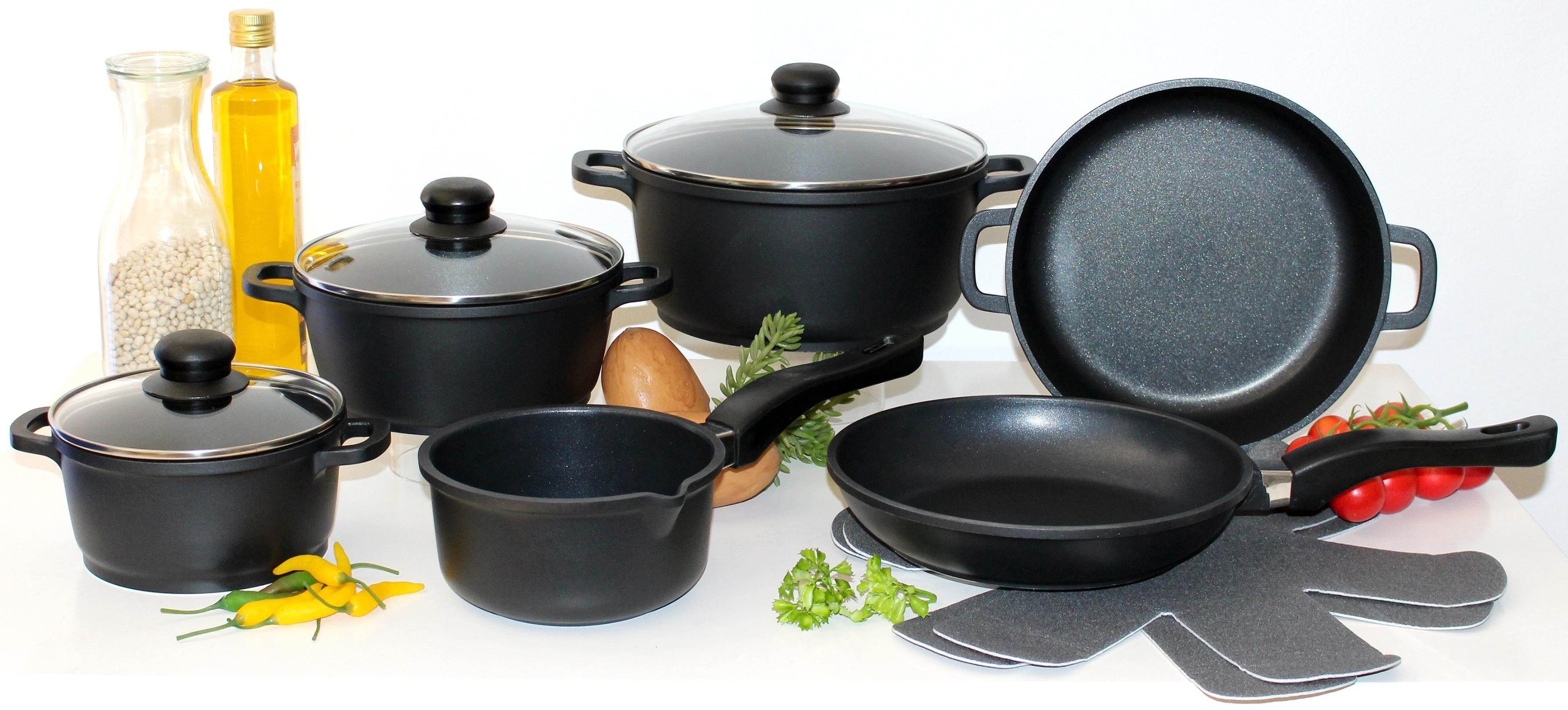 Elo - Meine Küche pannenset (10-dlg.: 4 pannen, 3, deksels, 2 koekenpannen, 1 paar panbeschermers) veilig op otto.nl kopen