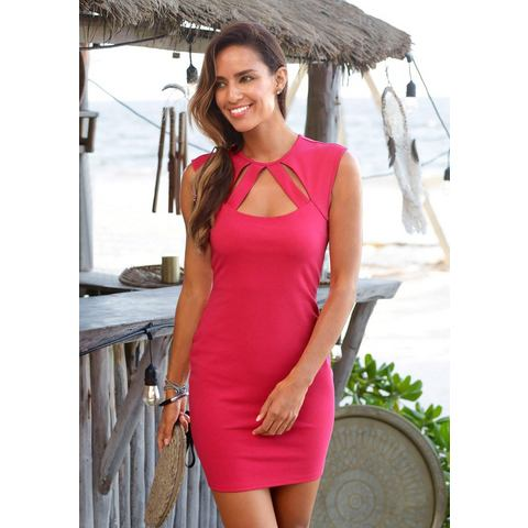 Lascana party-jurk met elegante hals roze
