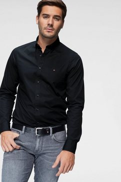 tommy hilfiger overhemd met lange mouwen »core stretch slim poplin shirt« zwart