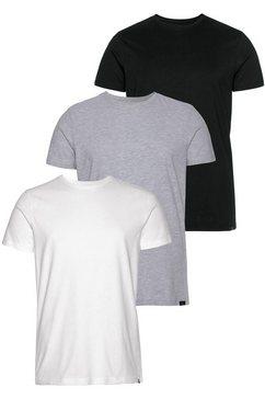john devin shirt met ronde hals (set, set van 3) zwart