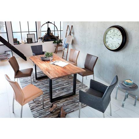 SIT eettafel Tops&Tables met blad van acaciahout voorzien van rand in echte boom-look