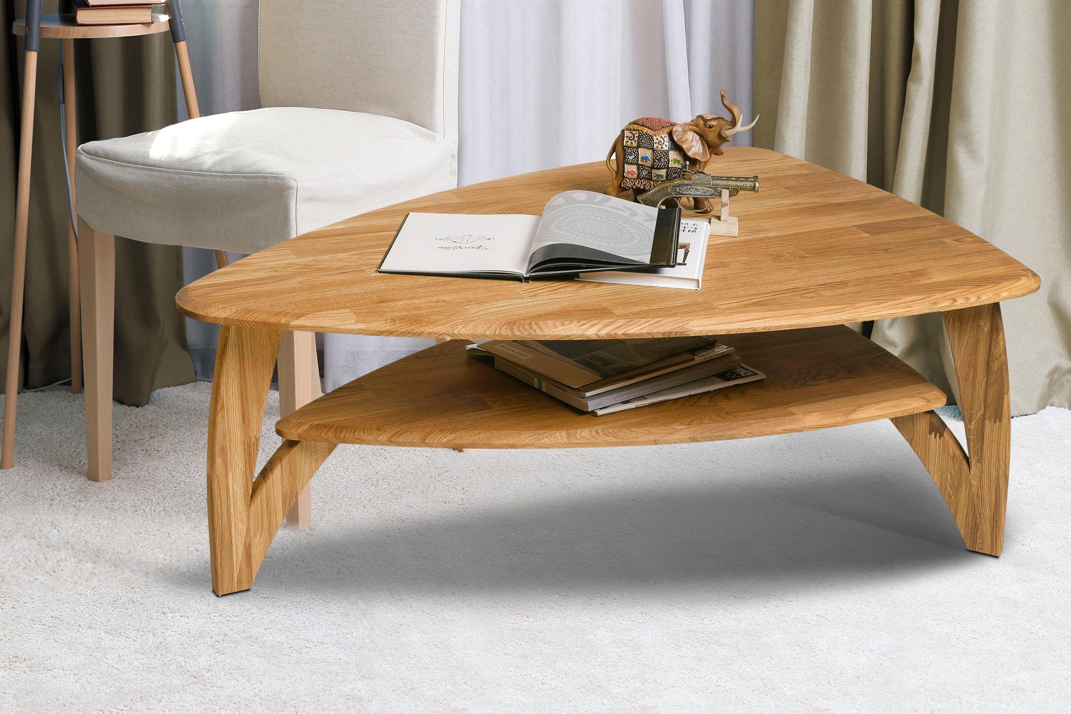Home affaire salontafel OJA is van massief eikenhout in ovaal model, breedte 120 cm in de webshop van OTTO kopen