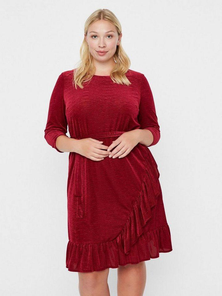 Junarose 3/4-mouw peplum jurk rood
