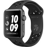 apple nike+ series 3 gps, aluminiumkast met nike-sportarmband 38 mm watch (watchos 5) grijs