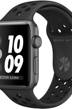 apple nike+ series 3 gps, aluminiumkast met nike-sportarmband 38 mm watch (watchos 5) grijs