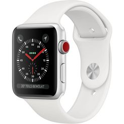 apple »series 3 gps + cellular, aluminiumgehaeuse mit sportarmband 42mm« watch zilver