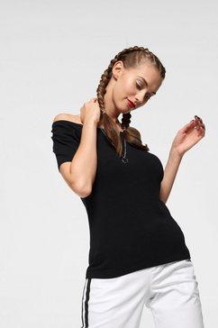 ajc shirt met carmenhals met elastiek bij de hals zwart