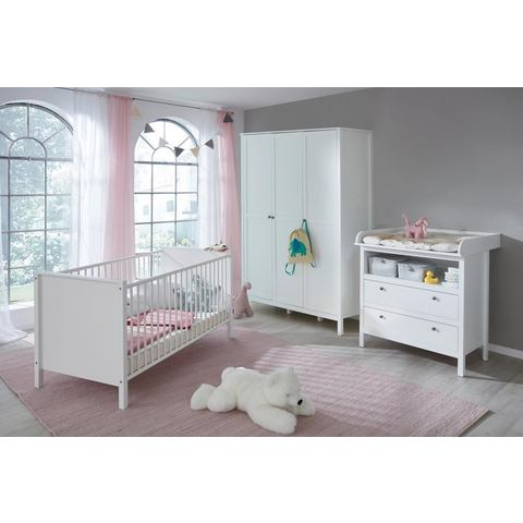 Complete kamer (3-delige set) Westerland ledikantje + commode + grote 3-deurs kledingkast in wit