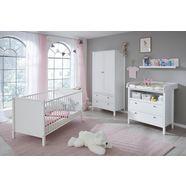 complete babykamerset westerland (4-delig) bed + commode + 2-deurs kast + wandrek (set, 4 stuks) wit