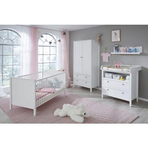 Complete kamer (4-delige set) Westerland ledikantje + commode + 2-deurs kledingkast + rek in wit