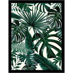 gc wanddecoratie jungle leaves ingelijst groen