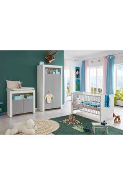 complete babykamerset lissabon bed + commode + 2-deurs kast (set, 3 stuks) grijs