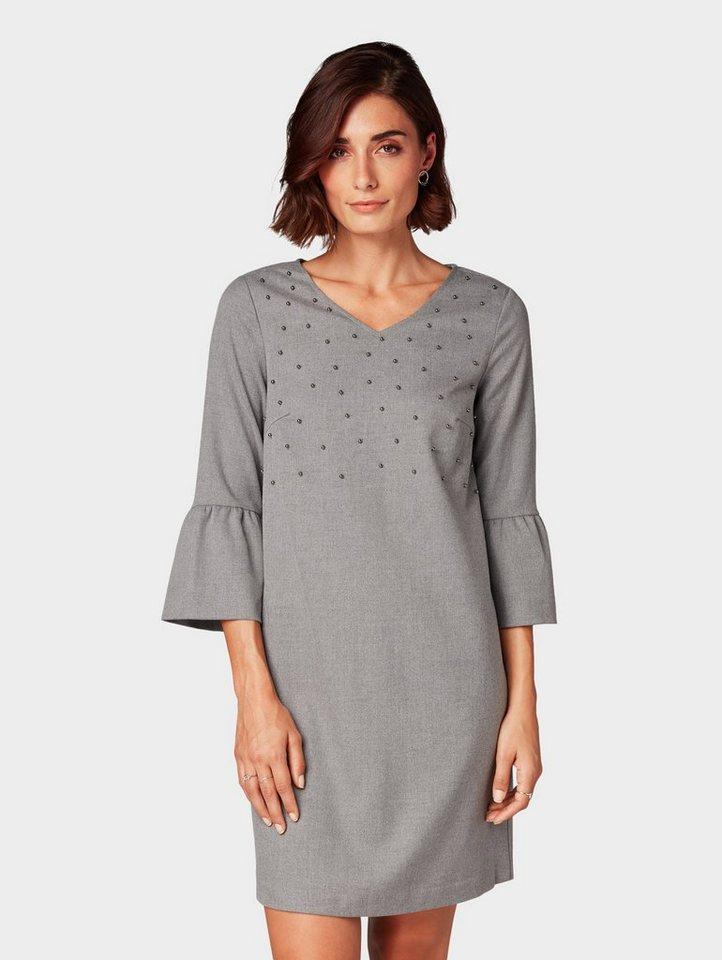 Tom Tailor blousejurkje gemêleerde jurk met kralenborduursel grijs