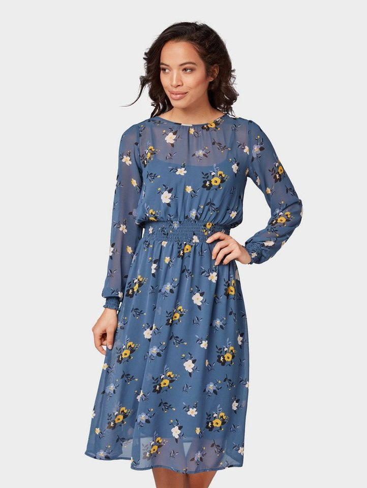 Tom Tailor blousejurkje jurk met bloemmotief blauw