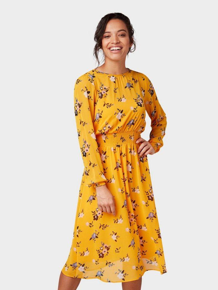 Tom Tailor blousejurkje jurk met bloemmotief geel