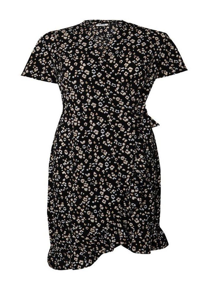 Pieces Luipaard overslag jurk zwart