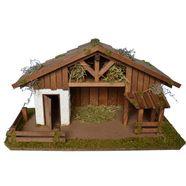 alfred kolbe kribbe kerststal met vele details, voor 12 cm figuren echt hout (1-delig) bruin
