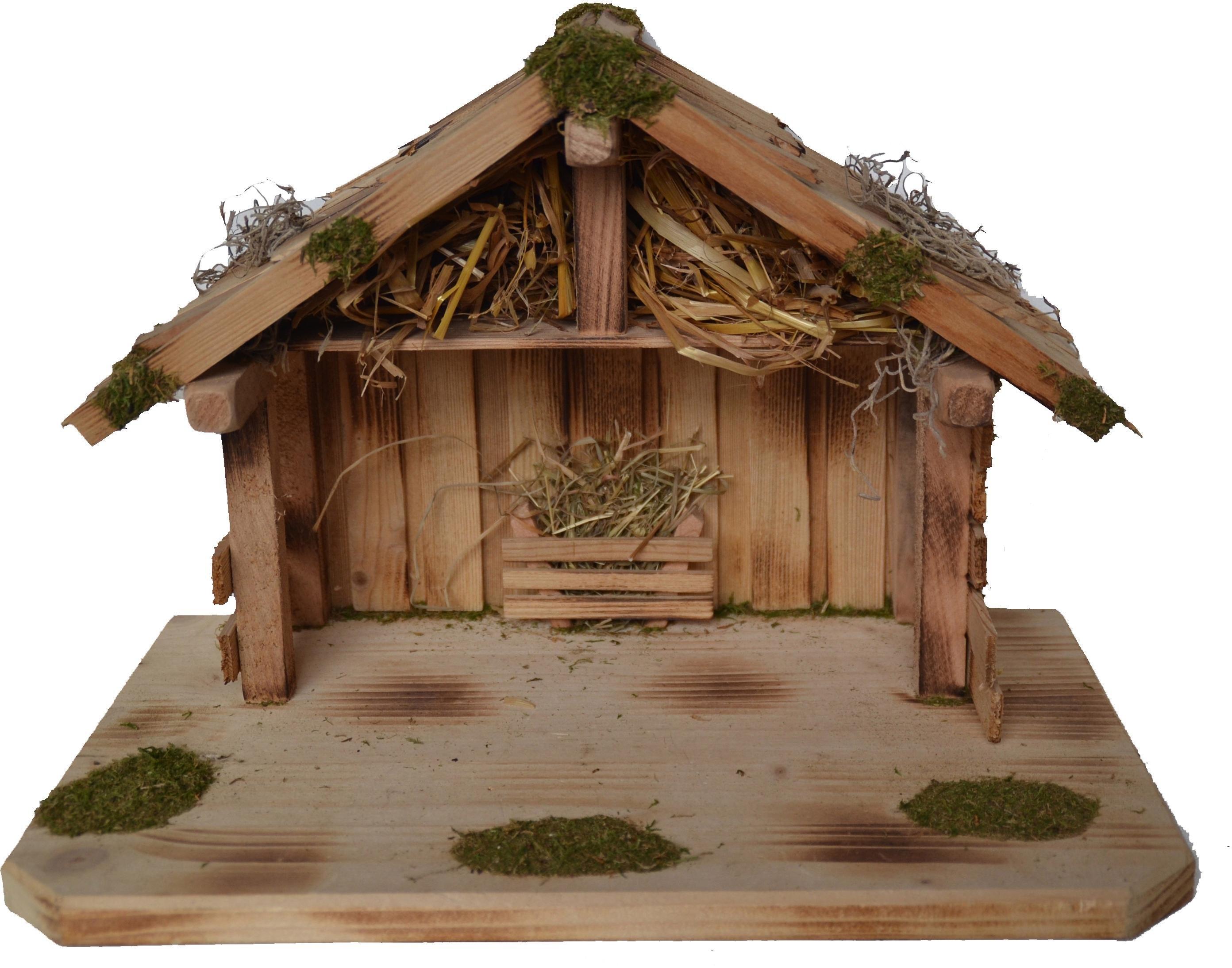 Alfred Kolbe kribbe Kerststal voor 9 cm figuren, massief houten vloer, gevlamd Echt hout (1-delig) bij OTTO online kopen