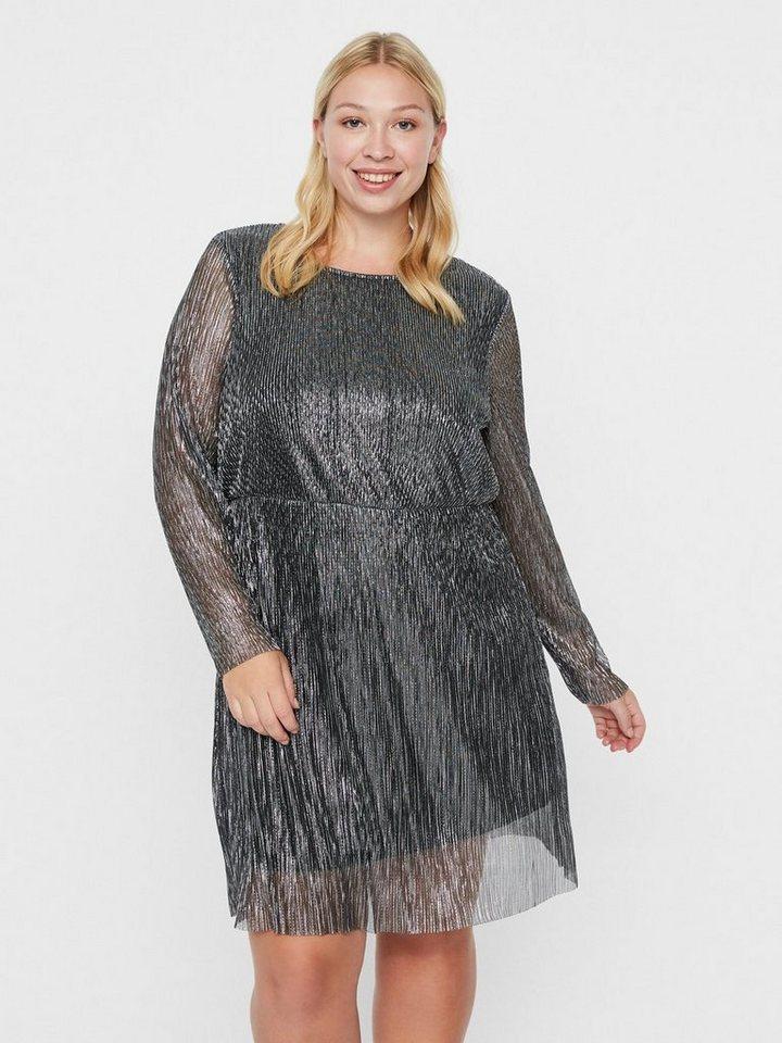 Junarose Zilveren plissé jurk zwart