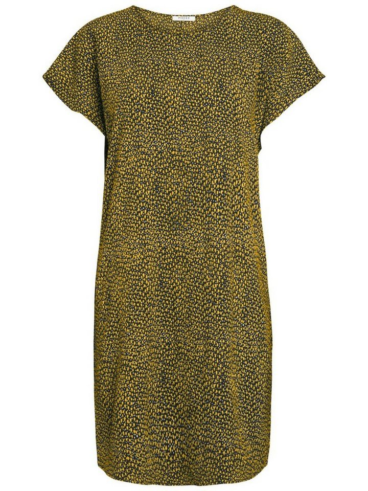 Pieces Bedrukte korte mouwen jurk geel