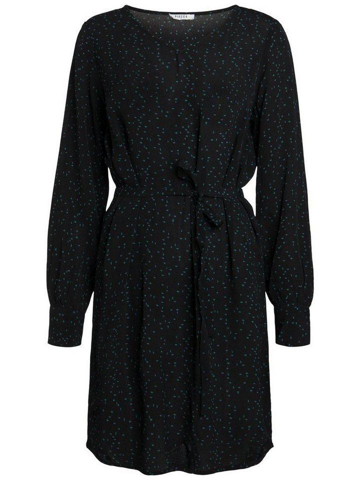 Pieces Effen jurk met lange mouwen zwart