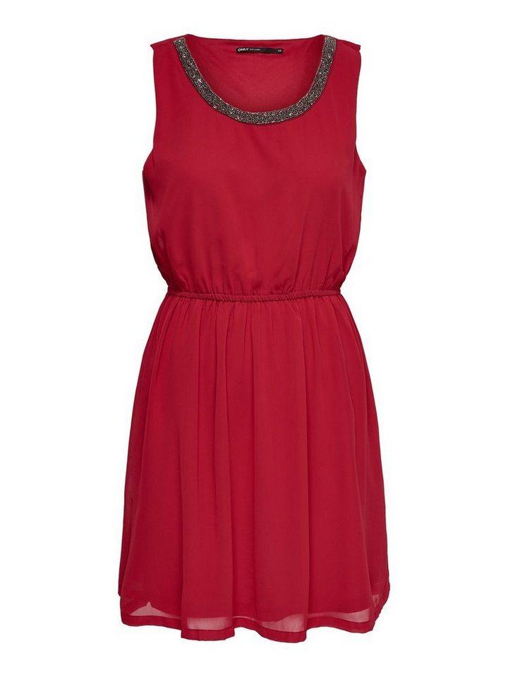 ONLY Gedetailleerde Mouwloze jurk rood