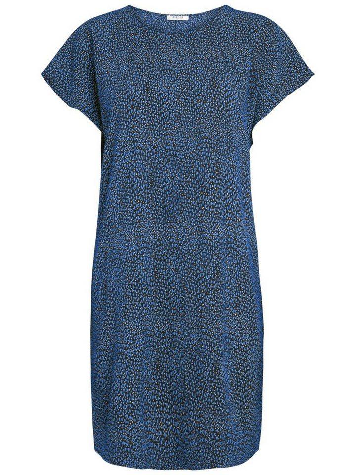 Pieces Bedrukte korte mouwen jurk blauw