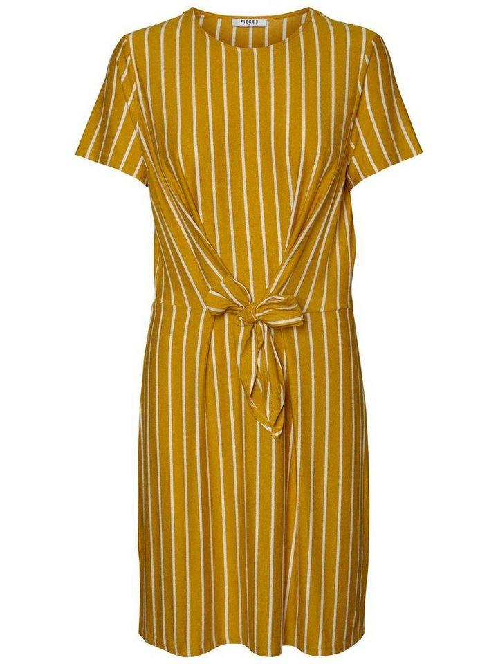 Pieces Gestreepte korte mouw jurk goud