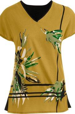 classic basics blouse in intens kleurenspel bruin
