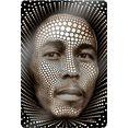 wall-art print op glas bob afmeting (bxdxh): 60x0,4x80 cm zwart